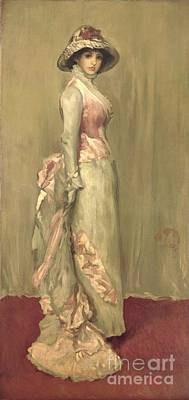 Historical Clothing Painting - Harmony In Pink And Grey Lady Meaux by James Abbott McNeill Whistler