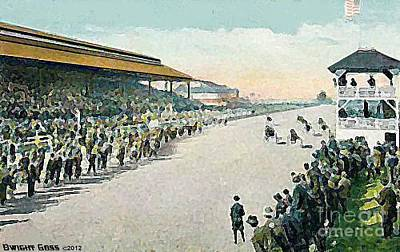 Harness Racing Painting - Harness Racetrack At The Sedalia Mo State Fair In 1915 by Dwight Goss