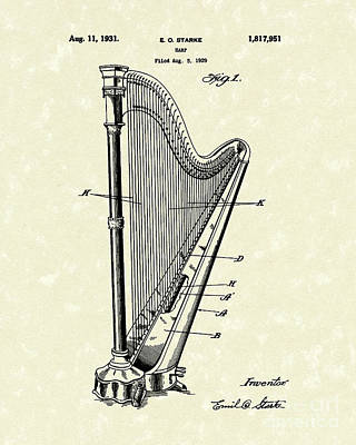 Angels Drawing - Harp 1931 Patent Art by Prior Art Design