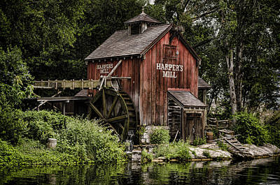 Grist Mill Photograph - Harpers Mill by Heather Applegate