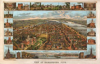Harrisburg Pennsylvania 1855 Art Print by Donna Leach