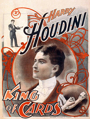Photograph - Harry Houdini, King Of Cards Poster by Everett