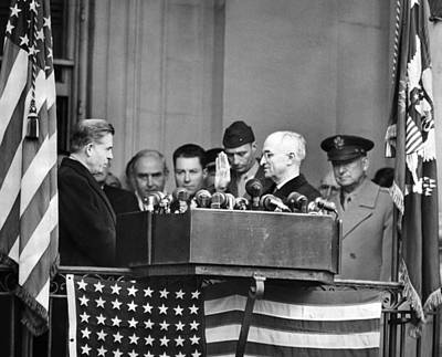 Swearing In Photograph - Harry Truman Is Sworn In A Vice by Everett
