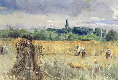 Stratford Painting - Harvest Field At Stratford Upon Avon by John William Inchbold