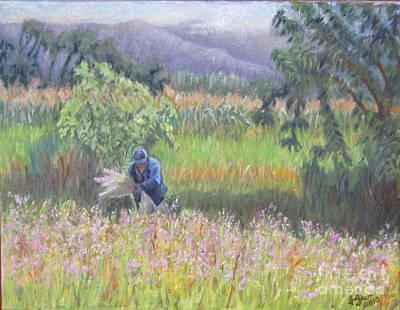 Harvesting Flowers In Etla Art Print by Judith Zur