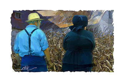 Amish Farms Mixed Media - Harvesting The Corn by Bob Salo