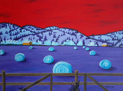 Bales Painting - Harveys Hayfield by Randall Weidner