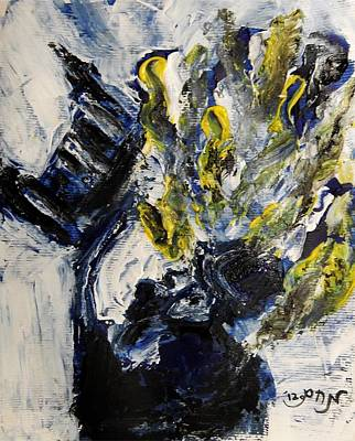 Religious Painting - Hassid Reading From Torah Scroll With Yellow Fiery Passion Going Up To Heaven He Points To Letters by M Zimmerman