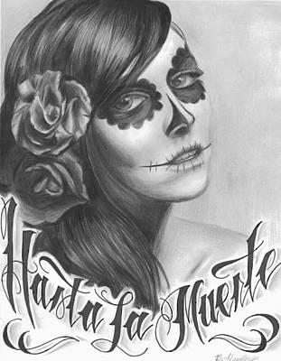 Sugar Skull Girl Drawing - Hasta La Muerte by Brandon Hurley