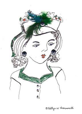 Hat Lady 10 Art Print by Bettye  Harwell