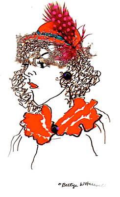 Hat Lady 7 Art Print by Bettye  Harwell