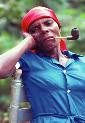 Photograph - Hatian Woman With A Red Scarf And A Pipe by Johnny Sandaire