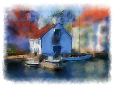 Haugesund Boat House Art Print by Michael Greenaway