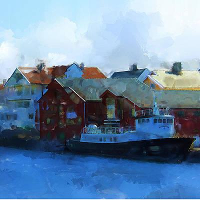 Haugesund Harbour Smeasund Art Print by Michael Greenaway