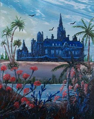 Haunted Castle Painting - Haunted Mansion by Moe Hussain