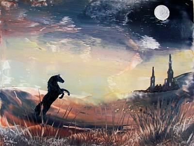Encaustic Horse Painting - Haunting Moon by Moe Hussain