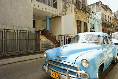 Synagogue Photograph - Havana Cuba Blue Car In Front Of Temple by Michael Dubiner