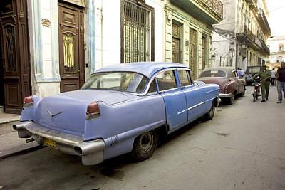 Car Photograph - Havana Cuba Blue Car On City Street by Michael Dubiner