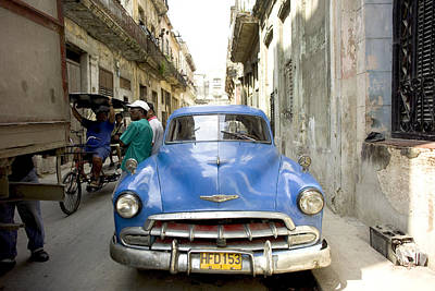 Cuba Photograph - Havana Cuba Blue Car On Street by Michael Dubiner