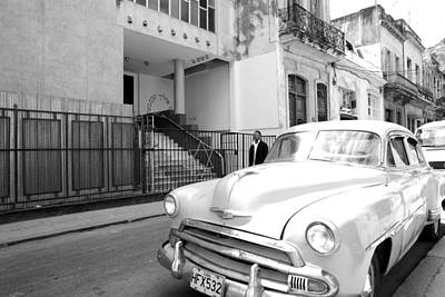 Synagogue Photograph - Havana Cuba Car In Front Of Temple  by Michael Dubiner