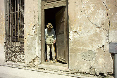 Havana Photograph - Havana Cuba Man In Door by Michael Dubiner