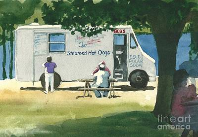 Hot Dog Stand Painting - Have A Salubrious Day - Bob's by Lynn Babineau