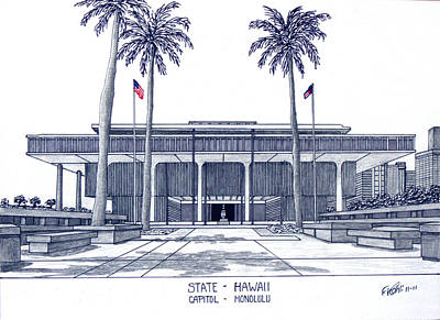 Drawing - Hawaii State Capitol by Frederic Kohli