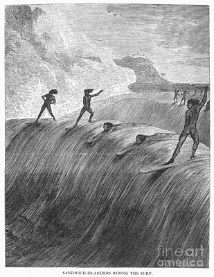 Nude Native Men Photograph - Hawaii: Surfing, 1878 by Granger