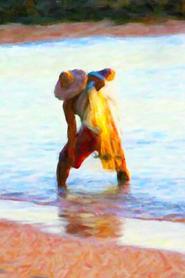 Net Painting - Hawaiian Fisherman by Rob Tullis