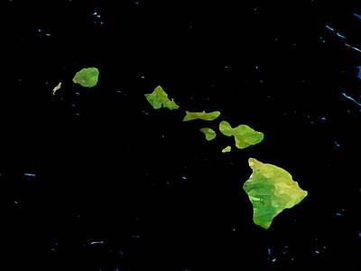 Art Print featuring the digital art Hawaiian Islands Chain by Karen Nicholson