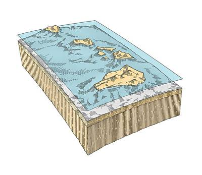 Hawaiian Islands Topography Print by Gary Hincks