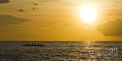 Canoes Photograph - Hawaiian Outrigger Canoe Sunset by Dustin K Ryan