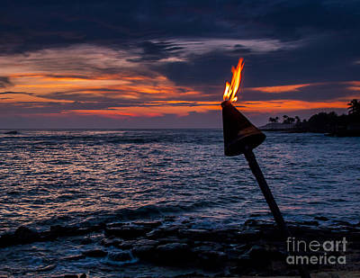 Hawaiian Torch Along Ocean Sunset Art Print