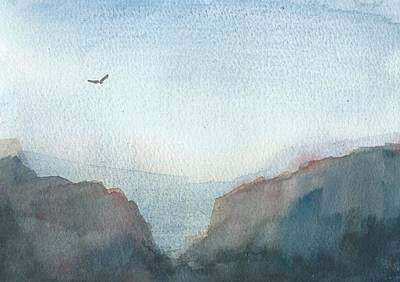Hawk Above The Red Cliffs Art Print by Alan Daysh