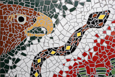 Handcrafted Photograph - Hawk And Snake Mosaic by Carol Leigh