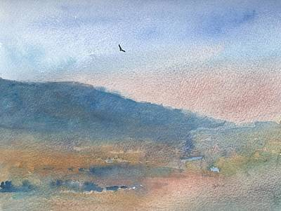 Hawk Hill Painting - Hawk At Sunset Over Stenbury Down by Alan Daysh