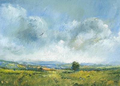 Hawk Hill Painting - Hawk Over The Yar Valley by Alan Daysh