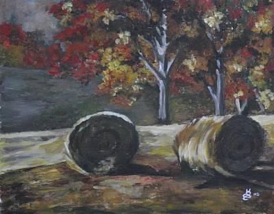 Hay Bales In Fall Art Print by Kim Selig