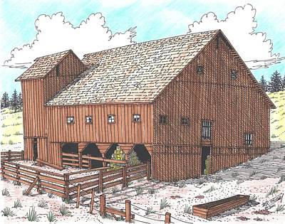 Old Barn Drawing - Hay Barn by Bill Friday