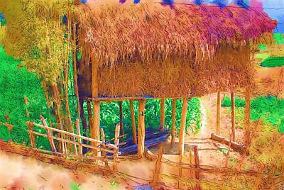 Digital Art - Hay Storage In Burma by Fran Woods