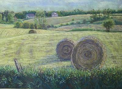Haybales Durham County Art Print by Ruth Greenlaw