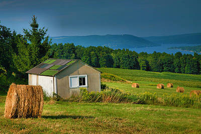 Pastoral Vineyard Photograph - Hayfield And Lake II by Steven Ainsworth