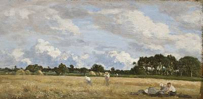 Worker Painting - Haymaking by Eugene Louis Boudin