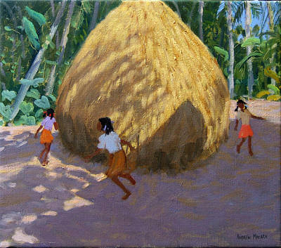 Indian Children Painting - Haystack by Andrew Macara