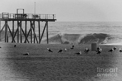 Hdr Black White Beach Beaches Ocean Sea Seaview Waves Pier Photos Pictures Photographs Photo Picture Art Print by Pictures HDR