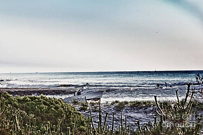 Hdr Boat Boats Beach Beaches Ocean Sea Photos Pictures Photography Photo Oceanview Seaview Picture Art Print by Pictures HDR