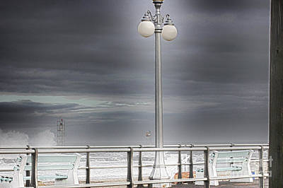 Hdr Lamp Post Beach Beaches Boardwalk Ocean Sea Effect Photos Pictures Photo Picture Photography New Art Print by Pictures HDR