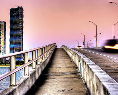 Hdr Sunrise Bridge Art Print