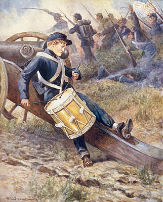 Drummer Painting - He Crawled Behind A Cannon And Pale And Paler Grew by William Henry Charles Groome