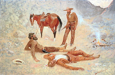 Cowboys And Indians Painting - He Lay Where He Had Been Jerked Still As A Log  by Frederic Remington